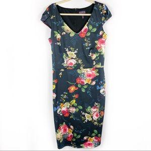 Long Tall Sally Sheath Dress Black Floral V Neck